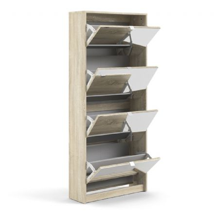 Shoes Shoe cabinet w. 4 mirror tilting doors and 2 layers in Oak structure White high gloss